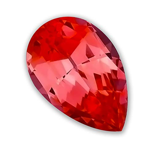 7x5mm Pear Shaped Gem Quality Chatham Lab-Grown Orange Padparadscha Sapphire Weighs .84-1.03 Ct, Medium Tone. ()