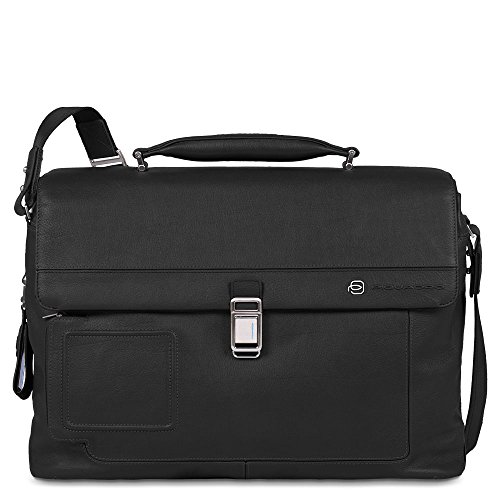 Piquadro Computer Briefcase with Two Dividers Plus iPad and Notebook Compartment, Black, One Size by Piquadro