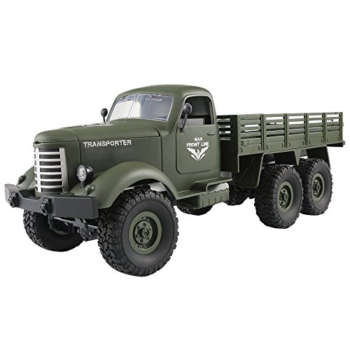 JJRC Q60 RC 1:16 2.4G Remote Control 6WD Tracked Military Truck Car RTR,Outsta Off-Road RC Car Vehicle Toy Electric Cars Truck-Best Gift for Boys (Green)