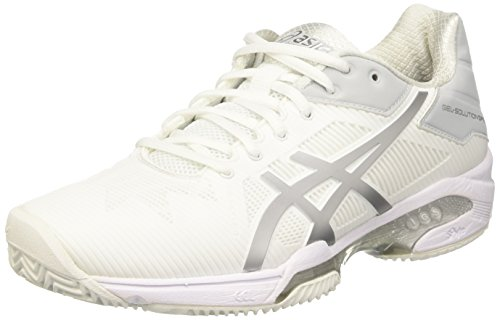 Damen Elfenbein Clay Speed Tennisschuhe Asics Gel 3 Solution Silver White 67AO0q