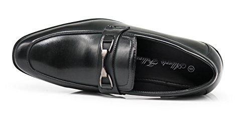Mocassini Da Uomo Enzo Romeo Bl Slip On Con Fibbia Moda Scarpe Da Lavoro Moderne Nero