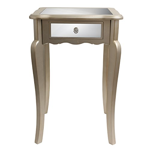 Décor Therapy FR1793 Mirrored Side Table, Silver Finish For Sale