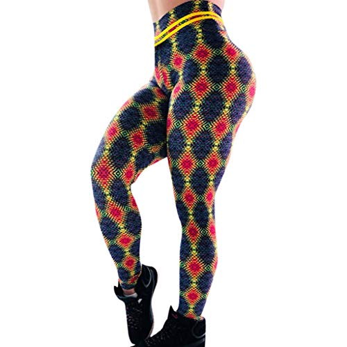 (iHPH7 High Waist Yoga Pants Control Leggings Workout Stretchy Trousers Printed High-Waist Hip Stretch Underpants Running Fitness Yoga Pants (L,11- Yellow))
