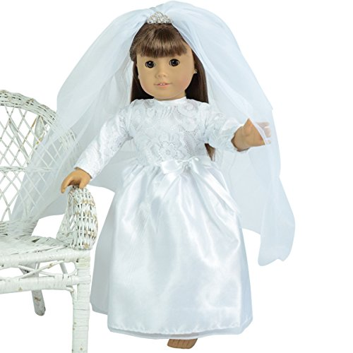 Bride Doll Clothes (Wedding Gown and Veil with Tiara for 18 inch Dolls)