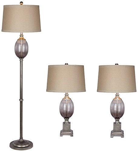 Fangio Lighting 5092 Transitional Metal and Glass Lamp Set,
