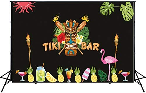 8x12 FT Tiki Bar Vinyl Photography Background Backdrops,Invitation to Tiki Bar Old Fashion Display Coconut Drink Mask and Flowers Print Background for Selfie Birthday Party Pictures Photo Booth Shoot