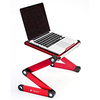Executive Office Solutions Portable Adjustable Aluminum Laptop Desk/Stand/Table Vented Notebook-MacBook-Ultra Light Weight Ergonomic TV Bed Large Lap Tray Stand Up/Sitting-Red (EOS-4)