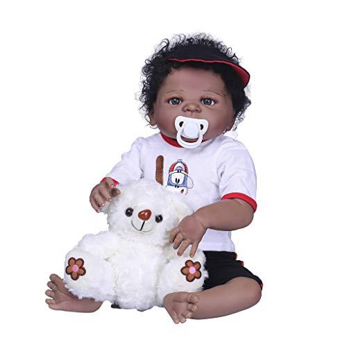 - Fenteer Lifelike Soft Full Silicone 22inch Reborn Baby Boy Doll African American Doll - Black Skin Tone Children Christmas Birthday Gift
