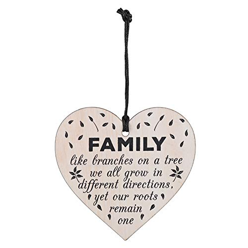 QiuLan Hanging Wooden Heart Shape Plaque Sign Message Decoration Gift Door Wall Handmade Embellishment Decorative Ornament for Family Door