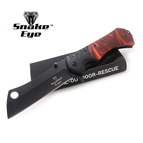 Snake Eye Tactical Heavy Duty Assisted Open Razor Style Folding Pocket Knife Camping Hunting Fishing (Brown Pearl)
