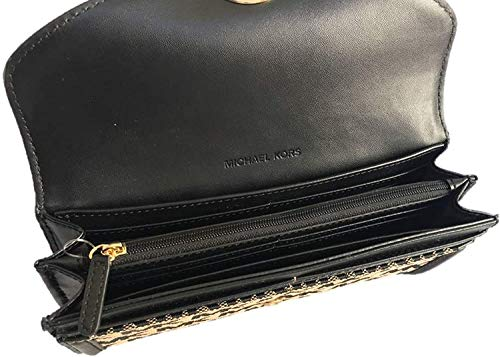 Michael Kors Fulton Signature Jacquard Large Flap Continental Wallet (2019) - Beige/Black/Black