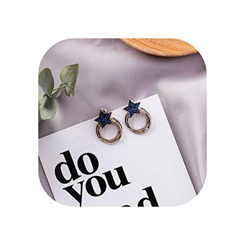 2019 Cute New Fashion Women Metal Geometric Multi-Layer Twisted Circle Stud Earrings Heart Star Rhinestone Girl Jewelry Gifts,Star Gold Color