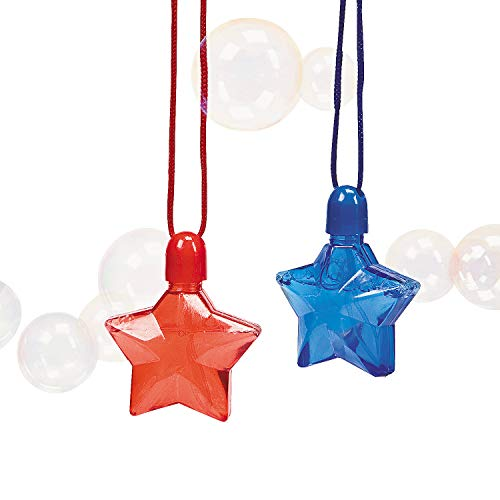 Fun Express - Star-Shaped Bubble Bottle Necklaces for Fourth of July - Toys - Bubbles - Bubble Necklaces - Fourth of July - 12 Pieces ()