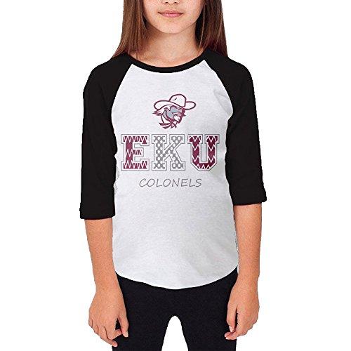 KSWFA Youth Girls Eastern Kentucky University Raglan Baseball T Shirt Black Size S (Colonel Costume For Kids)