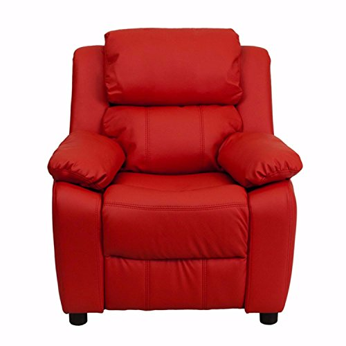 Offex Deluxe Heavily Padded Contemporary Red Vinyl Kids Recliner with Storage Arms