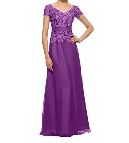 Damen mit Abendkleider Elegant Promkleider Brautmutterkleider Spitze Lang Lila linie Kurzarm Charmant Partykleider A dUvcqd