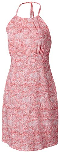 Columbia Women's Armadale Ii Halter Top Dress, Bright Geranium Wave Leaves Print, Small