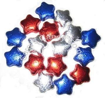 Patriotic Stars Solid Milk Chocolate Red, White, Blue Chocolate Stars - (1/2 Lb - Approx 22 - Foil Star Blue