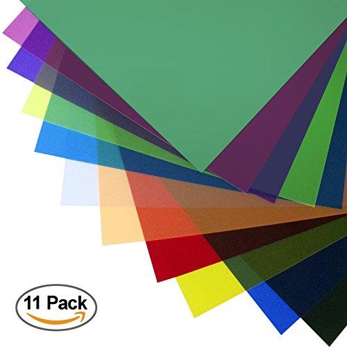 LS Photography 11 Color Gel Filter, 12 x 12 inch, Transparent Color Color Film, Color Correction for Camera Flash Light, Speedlite, LGG632