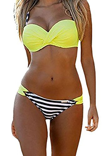 (EVALESS Womens Sexy Two Piece Bandeau Bikini Swimsuits Triangle Bathing Suits Swimwear Yellow&Stripes Large)