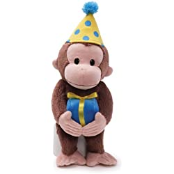 "GUND Curious George Birthday Monkey Stuffed Animal Plush, 14"""