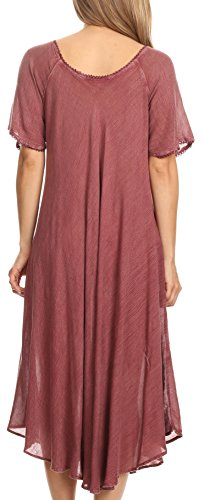 Short Print Everyday LIDA Block Summer Burgandy with Dress Relaxed Womens amp; Sleeves Sakkas 1xPdEw00