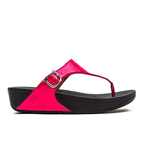 FitFlop Womens The Skinny Patent Toe Post Slide Sandal Shoes, Bubblegum, US 10