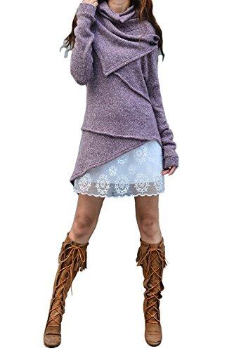 Women's Asymmetrical Knit Sweater Light Purple by jeanie's lifestyle