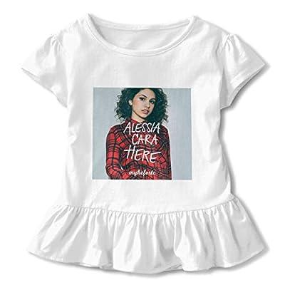 REYUTEEG Here Alessia Cara Girls Short Sleeve T Shirt Round Neck Ruffles Dress Tee White