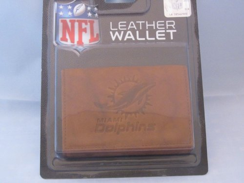 Rico Industries NFL Miami Dolphins Leather Trifold Wallet with Man Made Interior
