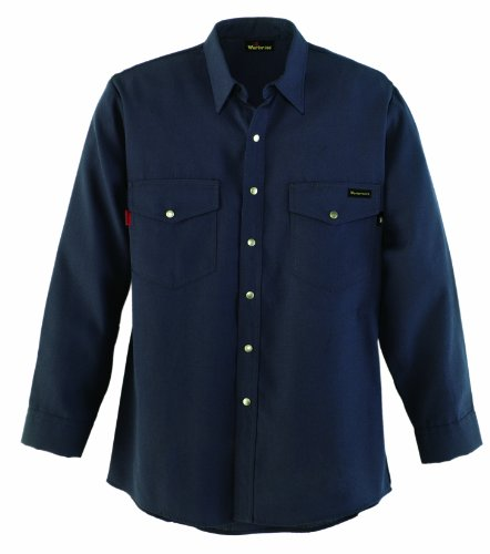 Workrite 220NX45NB38-0R Flame Resistant 4.5 oz Nomex IIIA Long Sleeve Western-Style Shirt, Snap Cuff, 38 Chest Size, Regular Length, Navy Blue ()