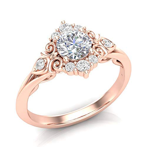 (Rose Gold Vintage Halo Engagement Ring Filigree Scroll Art Deco Ring Unique Halo Ring Forever One Colorless Moissanite Center Ring For Her)