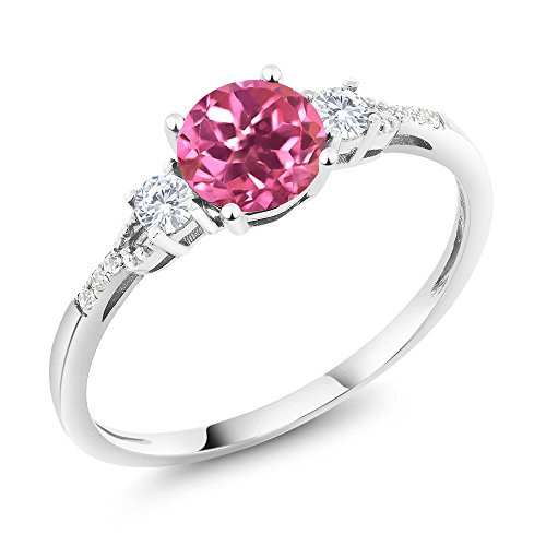Pink Sapphire White Gold Jewelry Set - 10K White Gold Diamond Accent Three-stone Engagement Ring set with Pink Mystic Topaz White Created Sapphire 1.15 cttw (Size 5)