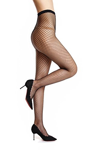 Élastique Sexy Resille Résille Maille Noir Fantaisie Noir Collant Grid Femme Bas Amoretu Collants Mid q8nzgg