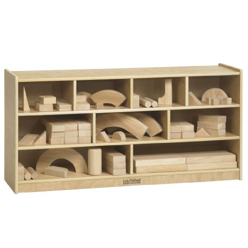ECR4Kids Birch 9-Compartment Hardwood Block Storage Cart, 24