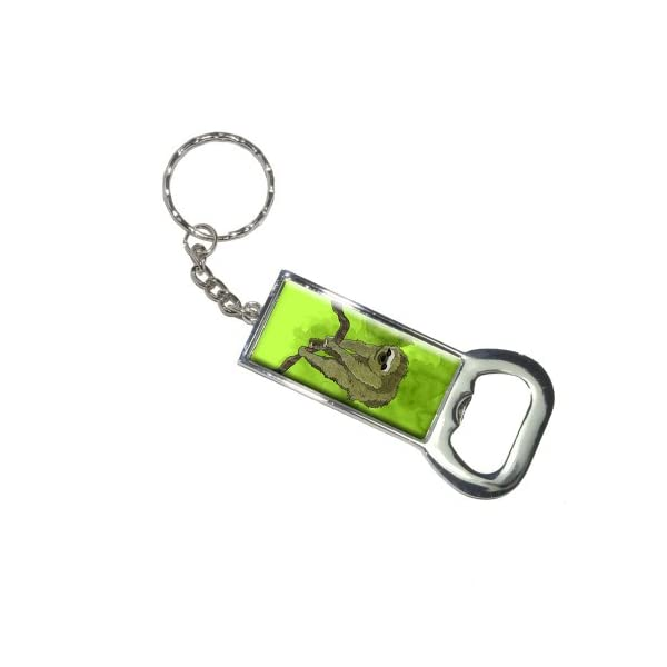 Graphics And More Bottlecap Opener Key Chain, Sloth Watercolor (Kk6013) -