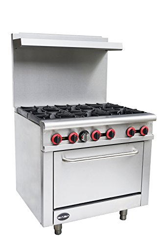 Heavy Duty Commercial 36″ Gas 6 Burner Range with Oven (211,000 BTU/hr Total Input)
