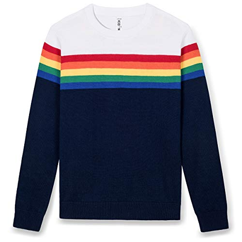 Kid Nation Kids' Sweater Long Sleeve Rainbow Stripe Pullover Round Neck Cotton Knit for Boys and Girls School Uniform Size XL White and Navy ()