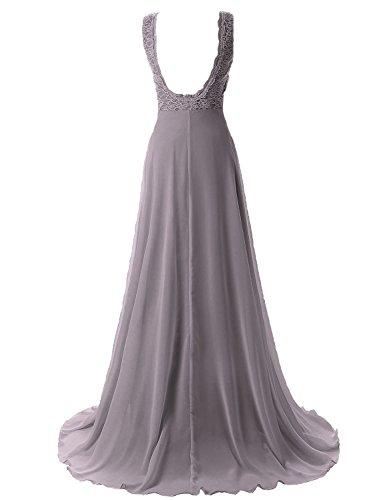 MicBridal - Vestido - trapecio - para mujer gris