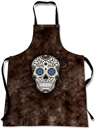 Sweet Gisele Sugar Skull Cooking Apron | 3D Print Chef Aprons | Great Home Kitchen Souvenir Gift Soft | Travel Accessories Made in USA | 1 Size Adjustable Bib Unisex (Brown) -
