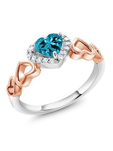 London Blue Topaz 2-Tone 925 Sterling Silver Women's Ring 0.71 Ct Heart Shape (Size (Shape Six Prong)