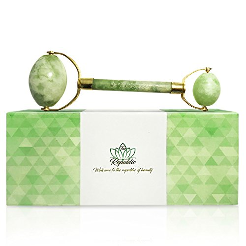 Puffer Neck - Tao Republic Jade Roller Superior Strength and Beauty - Anti Aging Rejuvenating Slimming Massager | Healing Therapy for Facial Eyes Neck | Reduce Wrinkles Puffiness Fine Lines | Genuine 100% Jade