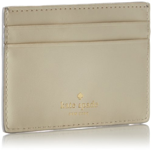 kate spade new york Carlisle Street Card Holder Wallet,Silver/French Navy,One Size
