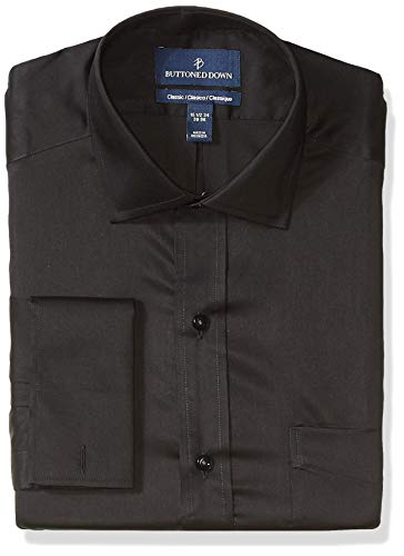 BUTTONED DOWN Men's Classic Fit French Cuff Micro Twill Non-Iron Dress Shirt, Black, 17