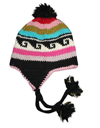 Sherpa Designs Hand Knit Unisex WOOL Beanie Hat Ear Flap Fleece Lined from Nepal (Multi-color Wave)