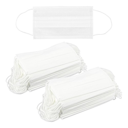 Pack of 100 Disposable Face Masks - Medical and Dental Masks - Great for People with Allergies and the Flu, White