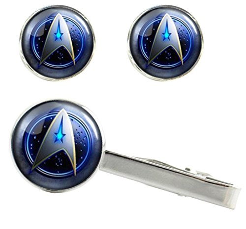 Main Street 24/7 Star Trek Original Command Logo Silvertone Glass Dome Cosplay Cufflinks & Tie Clip Set