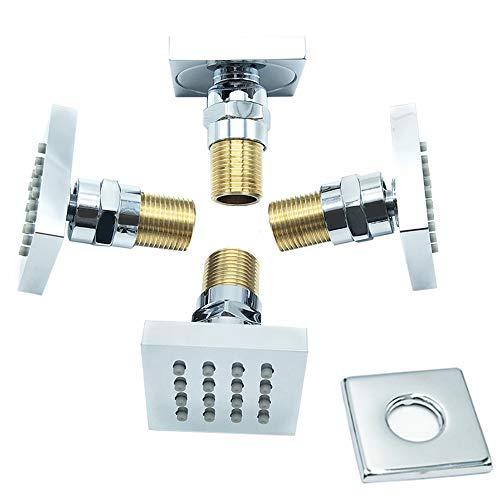 Bilu-hose Shower Spa Brass Square Massage Jets Spray Body Shower Set Chrome Finish 4 Pcs