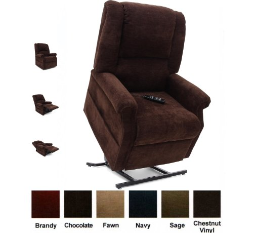 Mega Motion Infinate Position Power Easy Comfort Lift Chair Lifting Recliner FC-101 Infinite Recline Rising Electric Chaise Lounger - Chocolate Fabric + To the Front Door Delivery Service