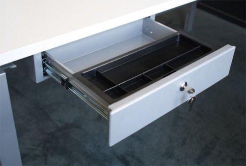 Schreibtisch Unterbau Schublade - Hängeschublade aus Stahl - Abschließbar